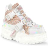 Vegan 5 cm SLACKER-50 alternatív glitter cipők platformos fehér