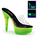 Zöld 15 cm DELIGHT-601UVS neon platform női papucs