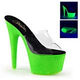 Zöld 18 cm ADORE-701UVG neon platform női papucs