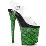 Zöld 20 cm FLAMINGO-808MSLG csillámos platform szandal női