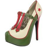 Zold Bézs 14,5 cm TEEZE-43 női cipők a magassarkű