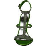 Zöld Strasszköves 11,5 cm CLEARLY-418 Szűk Magas Szandál