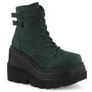Zöld Szarvasbőr 11,5 cm SHAKER-52 alternatív ek bokacsizma platformos fekete