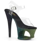 Zöld csillámos 18 cm Pleaser MOON-708OMBRE rúdtánc magassarkú cipő