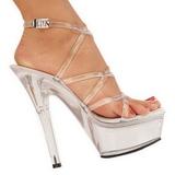 Átlátszó 15 cm KISS-206 Platform Magassarkú Cipők
