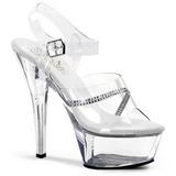 Átlátszó 15 cm KISS-208R női cipők a magassarkű