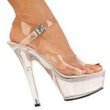 Átlátszó 15 cm Pleaser KISS-208 Platform Magassarkú Cipők