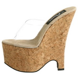 Átlátszó 16,5 cm Pleaser BEAU-601 Parafa Platform Éktalpú Cipők