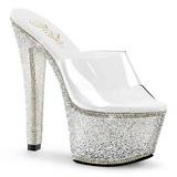 Átlátszó 18 cm BEJEWELED-701-2 Csillogó Kövekkel Platform Cipők