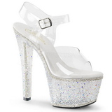Átlátszó 18 cm BEJEWELED-708-2 női cipők a Csillogó Kövekkel
