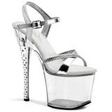 Átlátszó 18 cm DIAMOND-715 női cipők a Csillogó Kövekkel