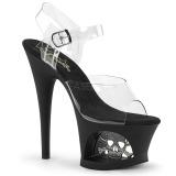 Átlátszó 18 cm Pleaser MOON-708SK Platform Magassarkú Cipők