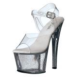 Átlátszó 18 cm Pleaser SKY-308MG csillámos magassarkű cipők